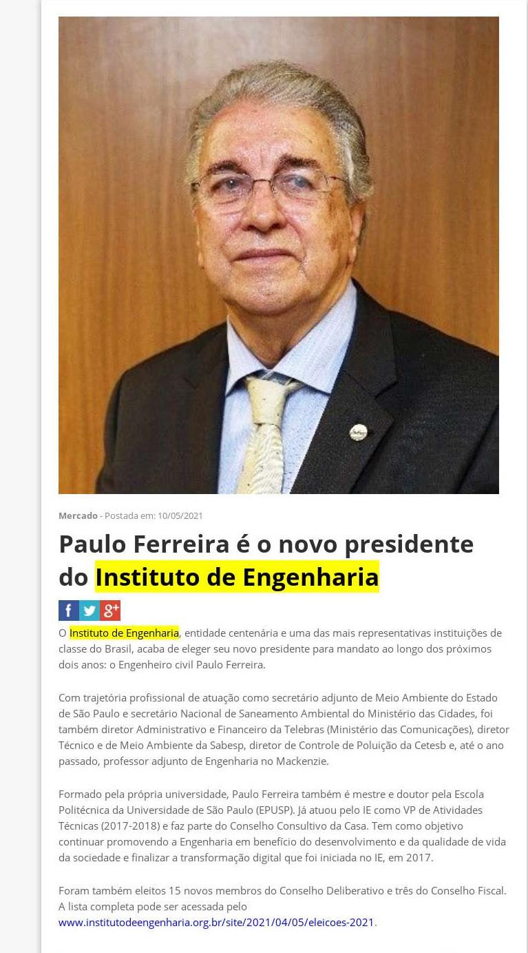 Paulo Ferreira é o novo presidente do Instituto de Engenharia - Qual Imóvel