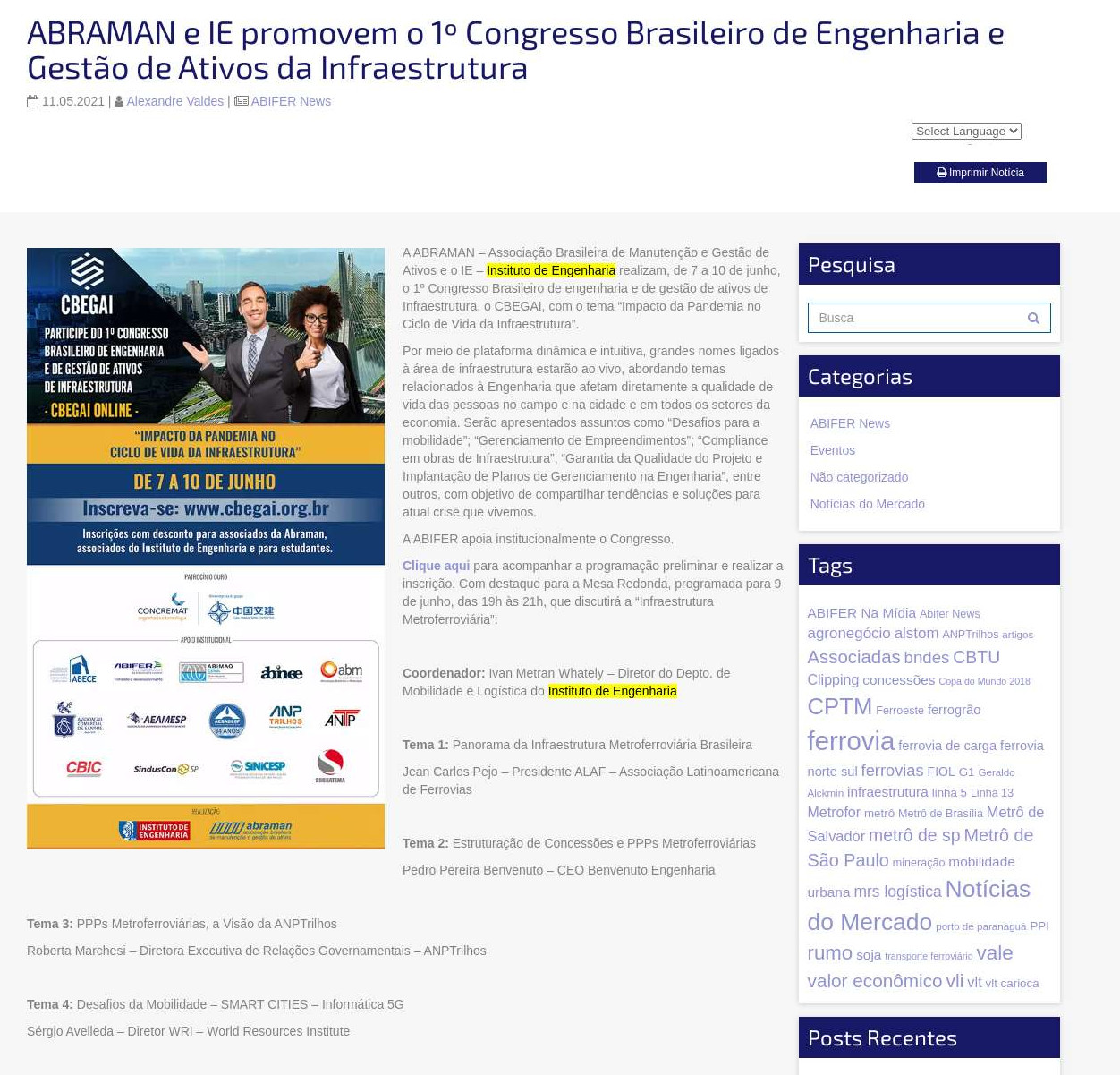 ABRAMAN e IE promovem o 1º Congresso Brasileiro de Engenharia e Gestão de Ativos da Infraestrutura - ABIFER