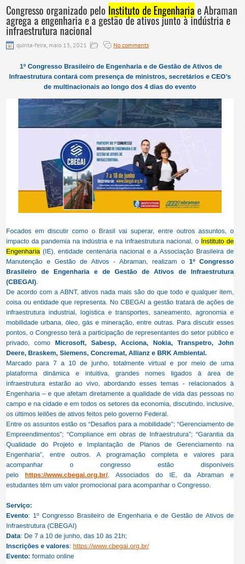 Congresso organizado pelo Instituto de Engenharia e Abraman agrega a engenharia e a gestão de ativos junto à indústria e infraestrutura nacional - Blog do Patrício Nunes