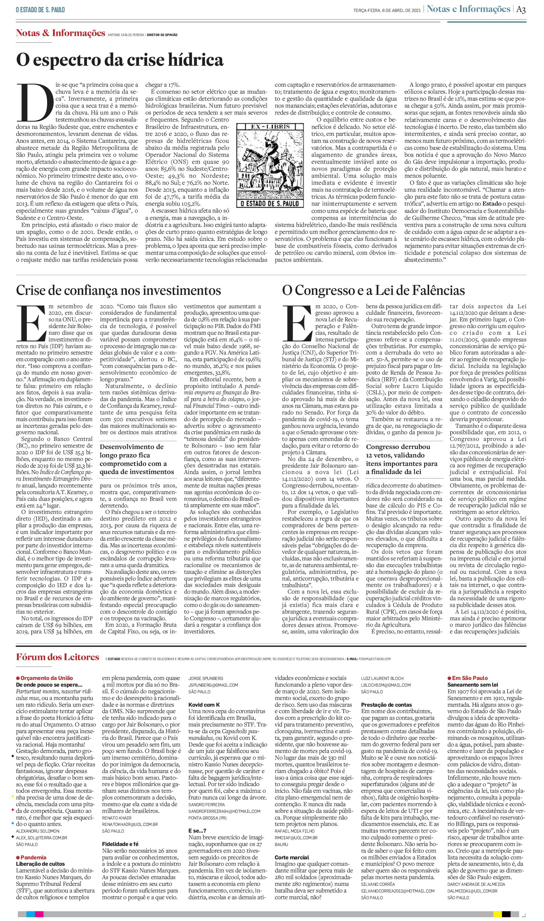 Crise de confiança nos investimentos - O Estado de São Paulo