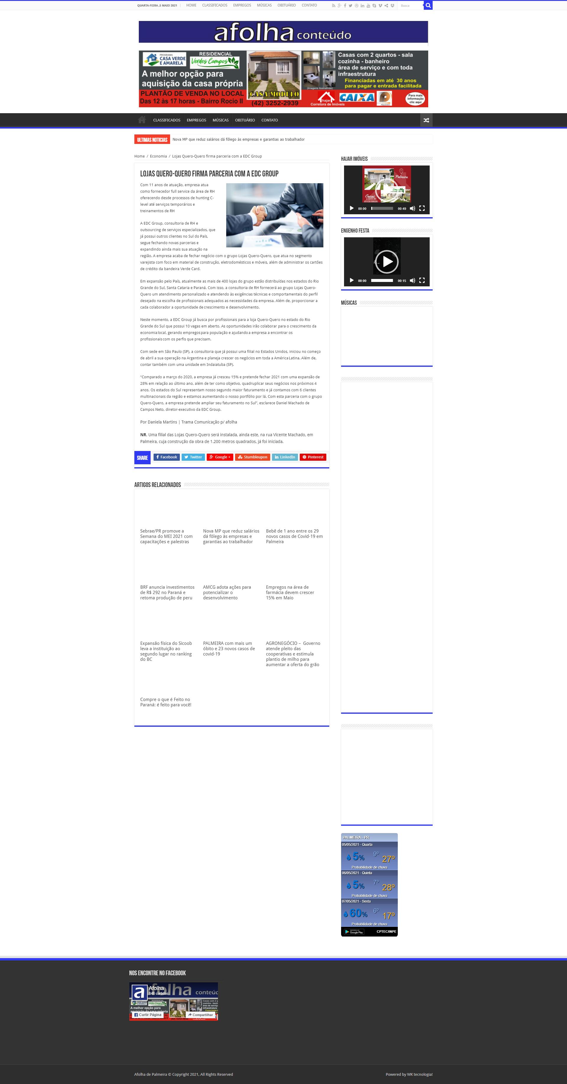 Lojas quero-quero firma parceria com a EDC Group - Folha de Palmeira