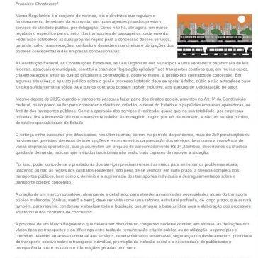 Artigo – Marco Regulatório dos Transportes – SEESP