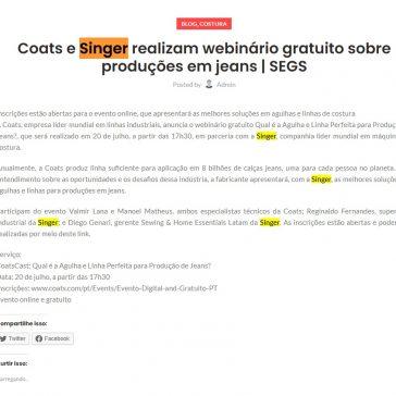 Coats e Singer realizam webinário gratuito sobre produções em jeans – Ceará Máquinas